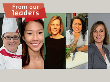 Portraits of 5 female chefs text reads: from our leaders