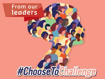 female silhouette filled with other female silhouettes text: #choosetochallenge and from our leaders